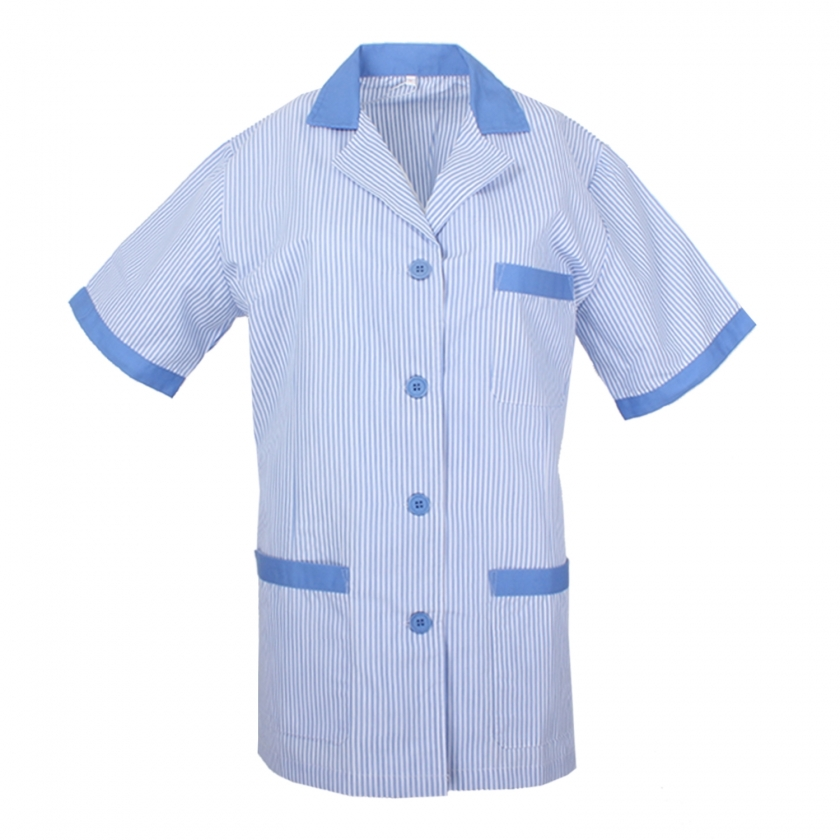 WORK CLOTHES LADY LAPEL COLLAR SHORT SLEEVES STRIPE UNIFORM CLINIC HOSPITAL CLEANING VETERINARY SANITATION HOSTELRY Ref: T820