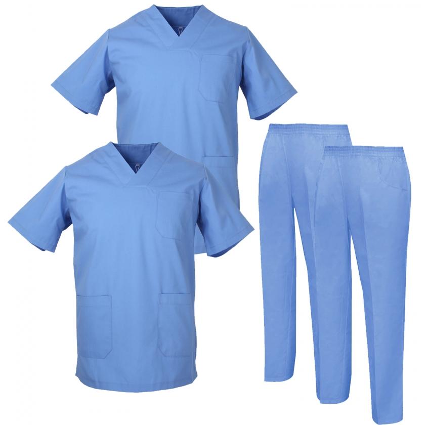 Pack * 2 Pcs - Ensemble Uniformes Unisexe Blouse - Uniforme Médical avec Haut et Pantalon   - Ref.2-8178