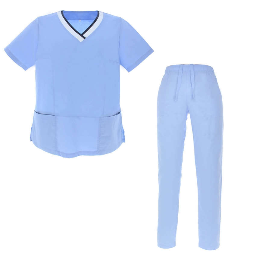WORK ELASTIC CLOTHES LADY UNIFORMS Unisex Scrub Set – Medical Uniform with Top and Pants - Ref.G7184