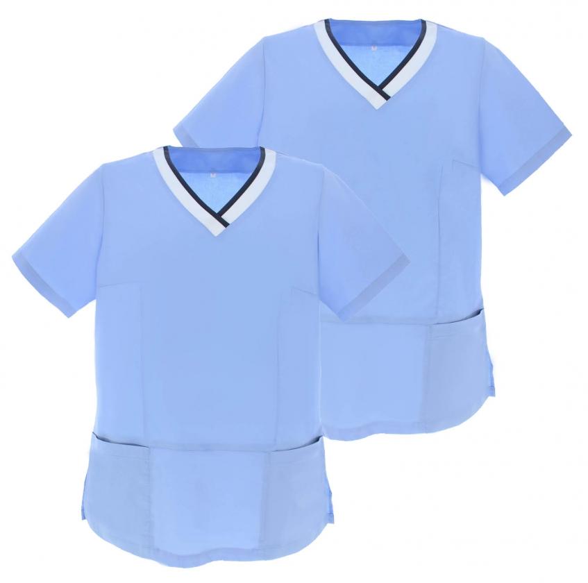 Pack*2 - CAMISA CAMISETAS Mujer MEDICA MANGAS CORTAS UNIFORME Médicos Enfermera Ddentistas G718