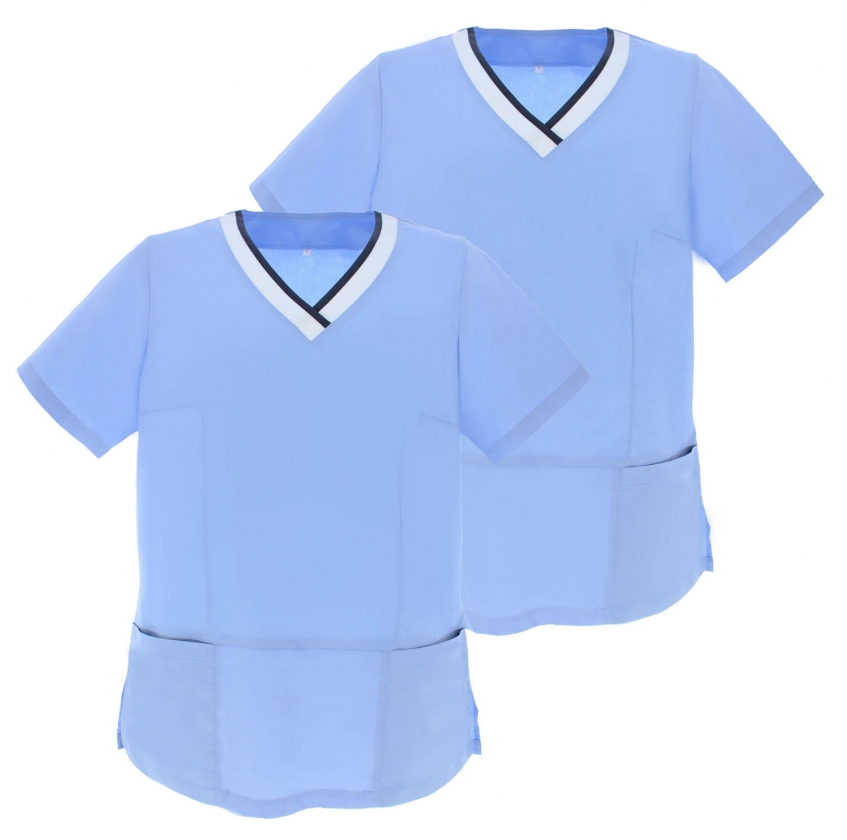 Pack * 2 - SHIRT T-SHIRTS Woman MEDICA SHORT SLEEVES UNIFORM Doctors Nurse Ddentists G718