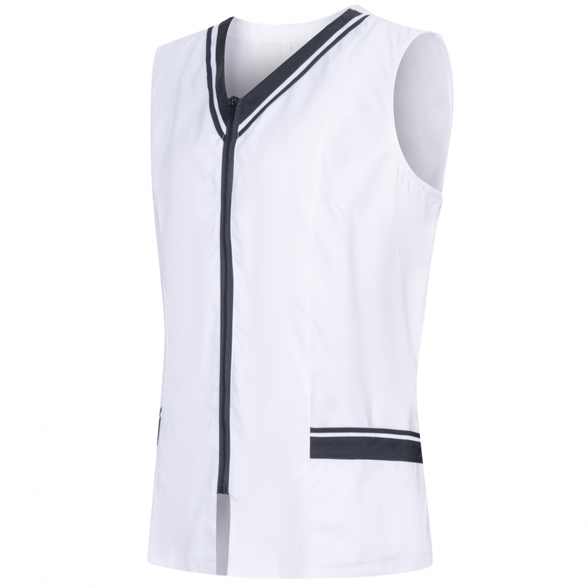 WORK CLOTHES LADY WITHOUT SLEEVES WHITE/BLACK UNIFORM CLINIC HOSPITAL CLEANING VETERINARY SANITATION HOSTELRYRef: 818